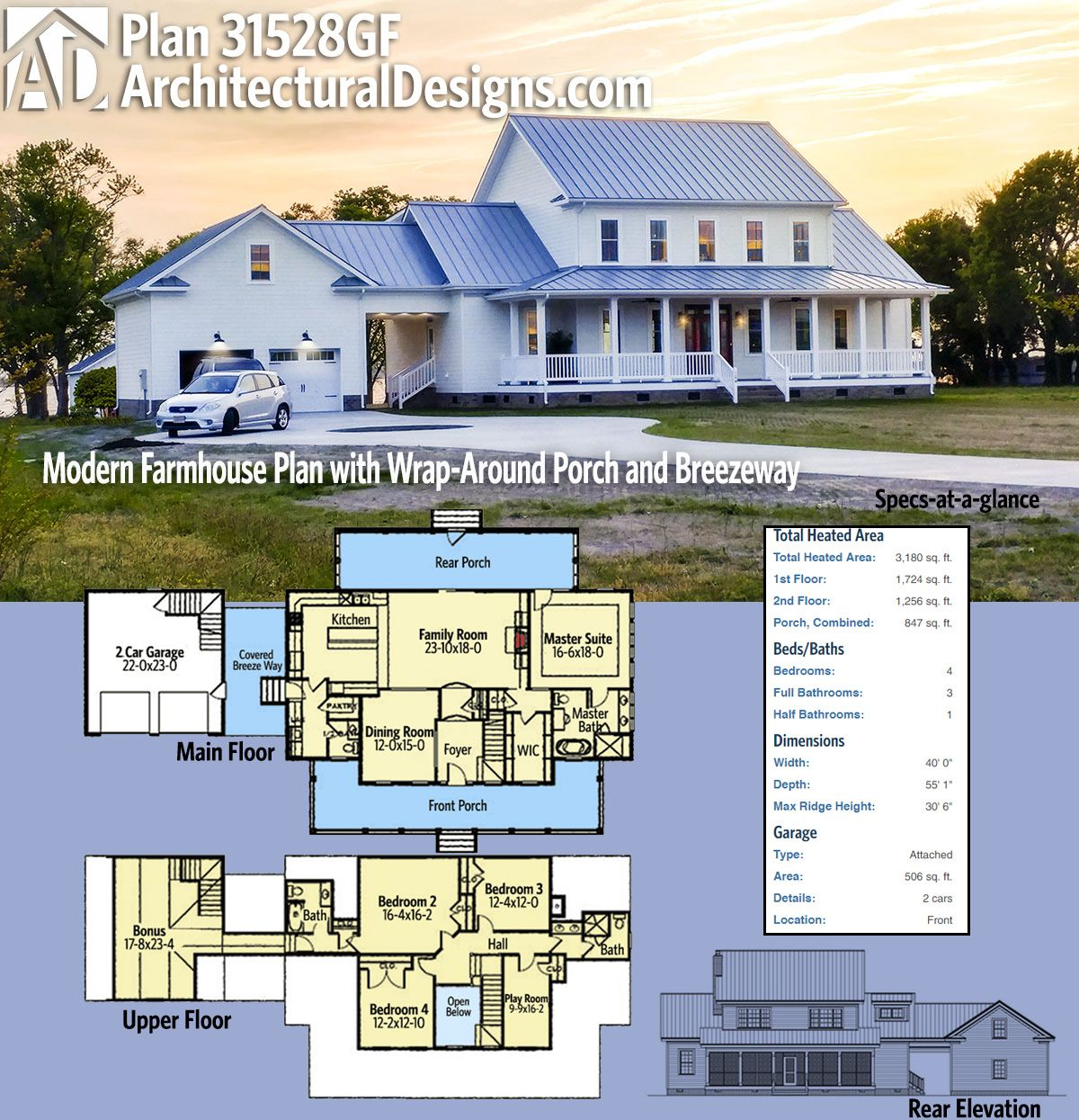 Plan 31528gf Modern Farmhouse Plan With Wrap Around Porch And Breezeway Modern Farmhouse Plans Farmhouse Plans Farmhouse Floor Plans
