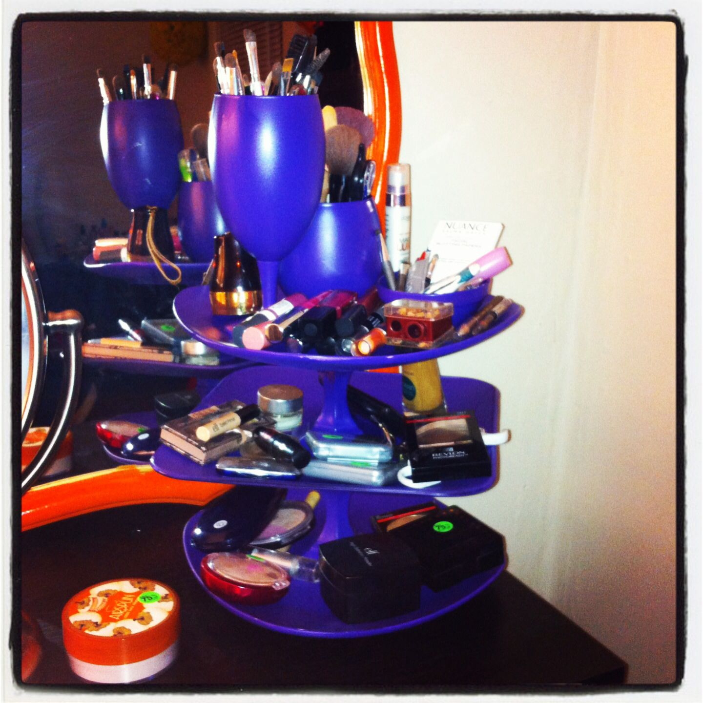 Diy makeup organizer! Dishes from dollar tree, spray paint