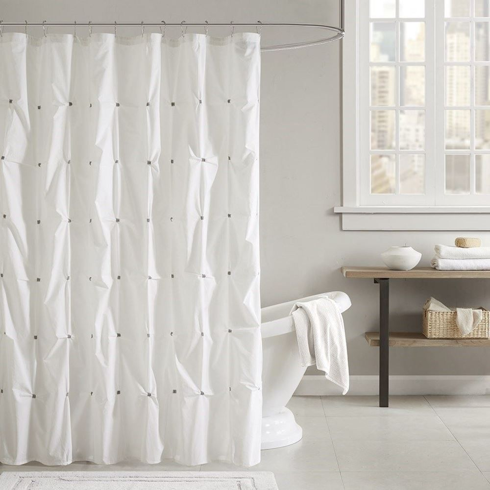 Luxury White Grey Tufted Embroidered Cotton Fabric Shower Curtain 72 X Inkivy