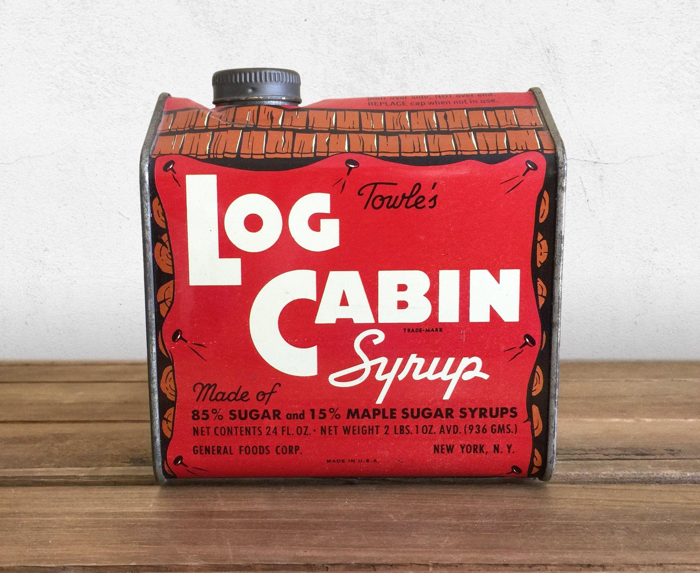 Vintage Towle S Log Cabin Syrup Tin 1940s Original 24 Oz Etsy In 2021 Vintage Tins Vintage Packaging Tin