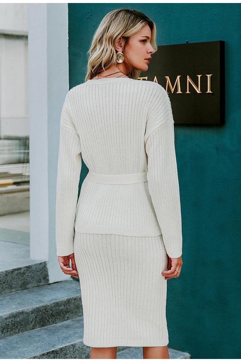 Women Knitted Sweater Dress Elegant Autumn Winter Two Pieces Skirt Suit White Long Sleeve Jkp3821 Knitting Women Sweater Cardigans For Women Knit Sweater Dress [ 1200 x 800 Pixel ]