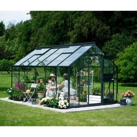 Serre de jardin 12,1m² anthracite et verre horticole Compact Plus ...
