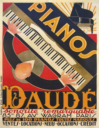 Poster pubblicitario  pianoforti Daude creato nel 1926.    Immagine pubblicitaria art deco per il negozio sulla Avenue Wagram a Parigi, ideatore e creatore di questa immagine è lo stesso presidente della società André Daudé ( 1897-1979).