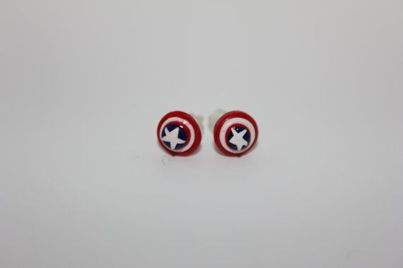 Captain America Shield Earrings. 1/4 of an Inch in size