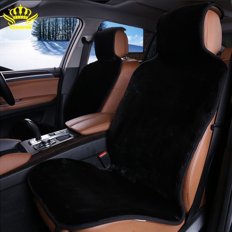 2 Pc Faux Fur Seat Covers Universal Car Avtochehol Artificial Accessories Cover Black