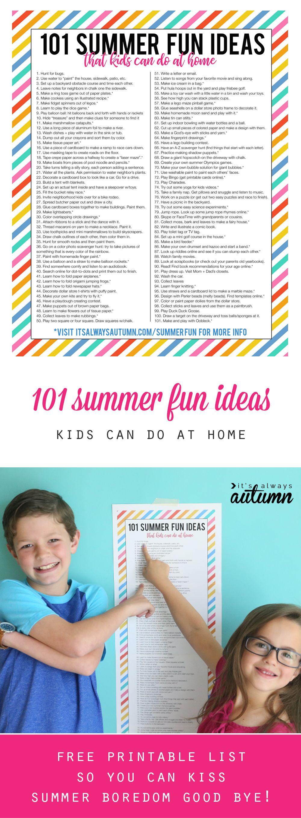 Summer Fun Ideas That Kids Can Do At Home Summer Boredom