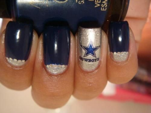 Dallas Cowboys football nails- perfect for when we go to the game!