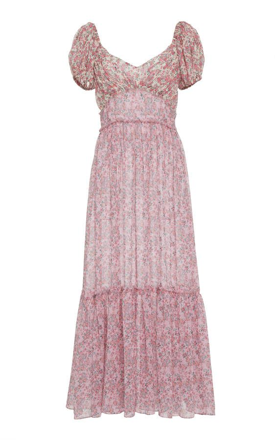 ad9d6193188 LoveShackFancy Angie Floral Silk Button Up Midi Dress