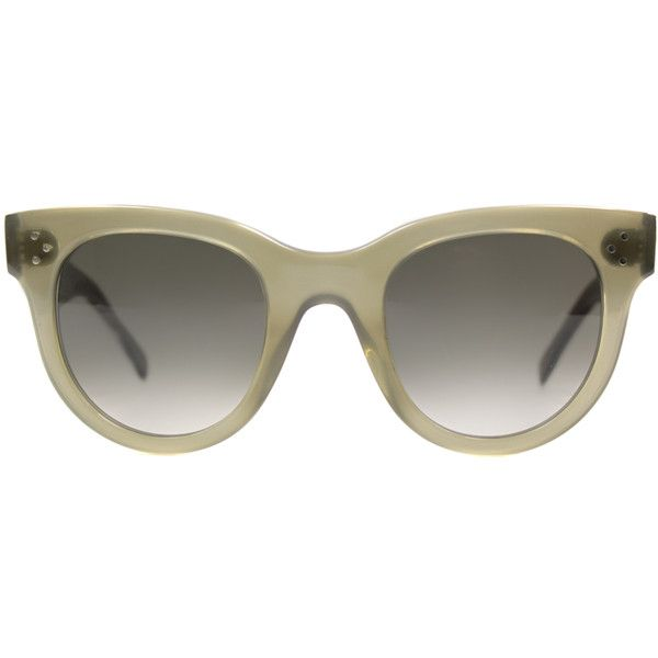 Celine CL 41053 QP4 Military Green Cat-Eye Plastic Sunglasses (3.456.570 IDR) ❤ liked on Polyvore featuring accessories, eyewear, sunglasses, green, cat eye sunglasses, oliver sunglasses, celine glasses, cat-eye glasses and plastic lens glasses