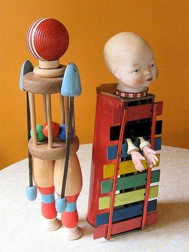 Juggler Jane and her biggest fan ~ assemblage art ~ Cat Bishop