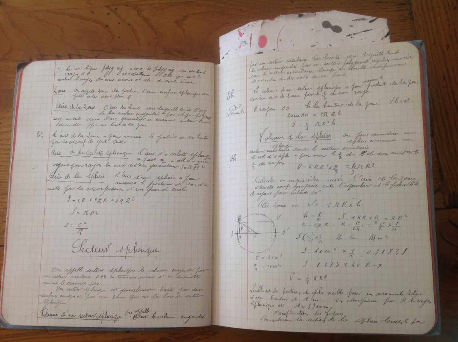 FREE SHIPPING    Wonderful old French Geometry Exercise Book