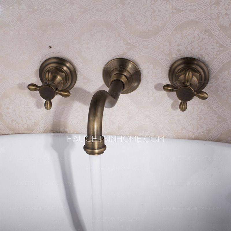 Vintage Wall Mount Three Hole Antique Brass Bathroom Faucets | bathe ...