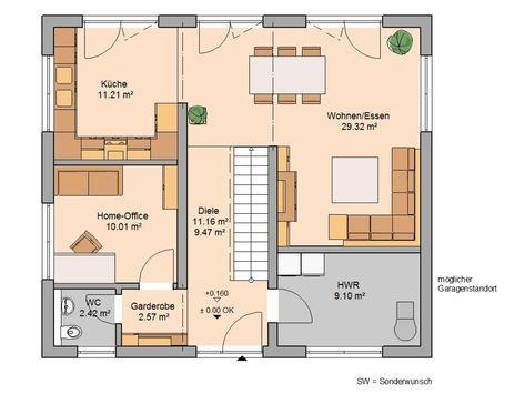 Kern-Haus Stadtvilla Signus Grundriss Erdgeschoss Wohnzimmer - offene kuche wohnzimmer grundriss