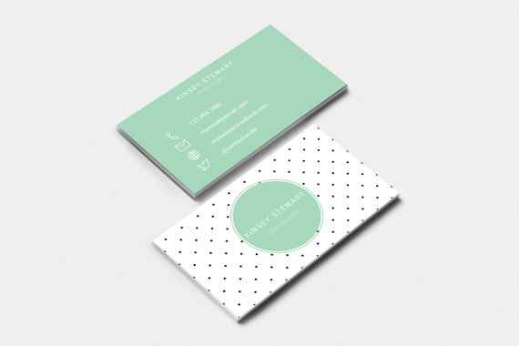editable printable business card template dots feminine business