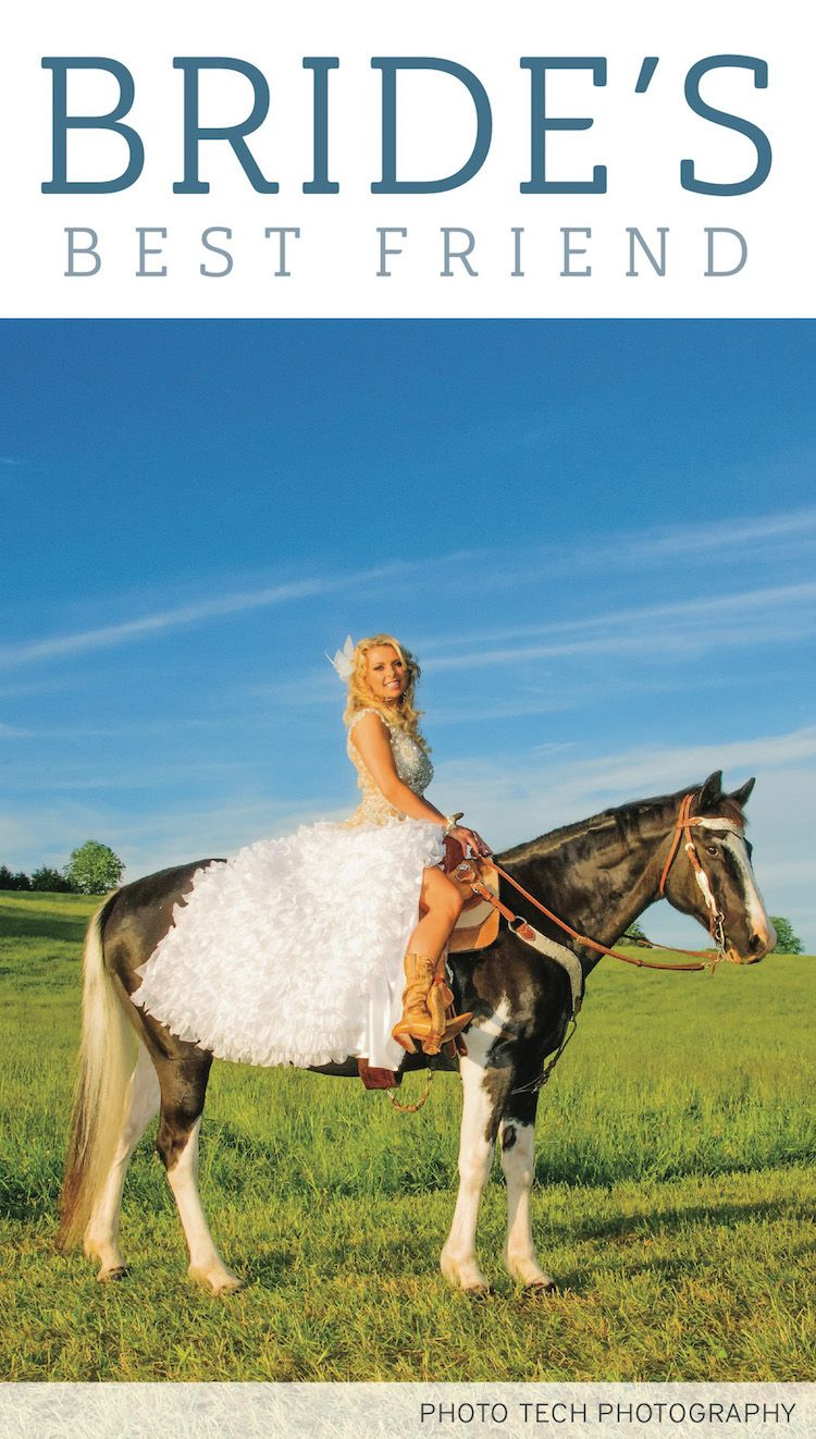 Bridal portrait with horse, photographed by @phototechphotos. See more from this Tri-Cities wedding inspiration featuring dogs and horses! | The Pink Bride® www.thepinkbride.com