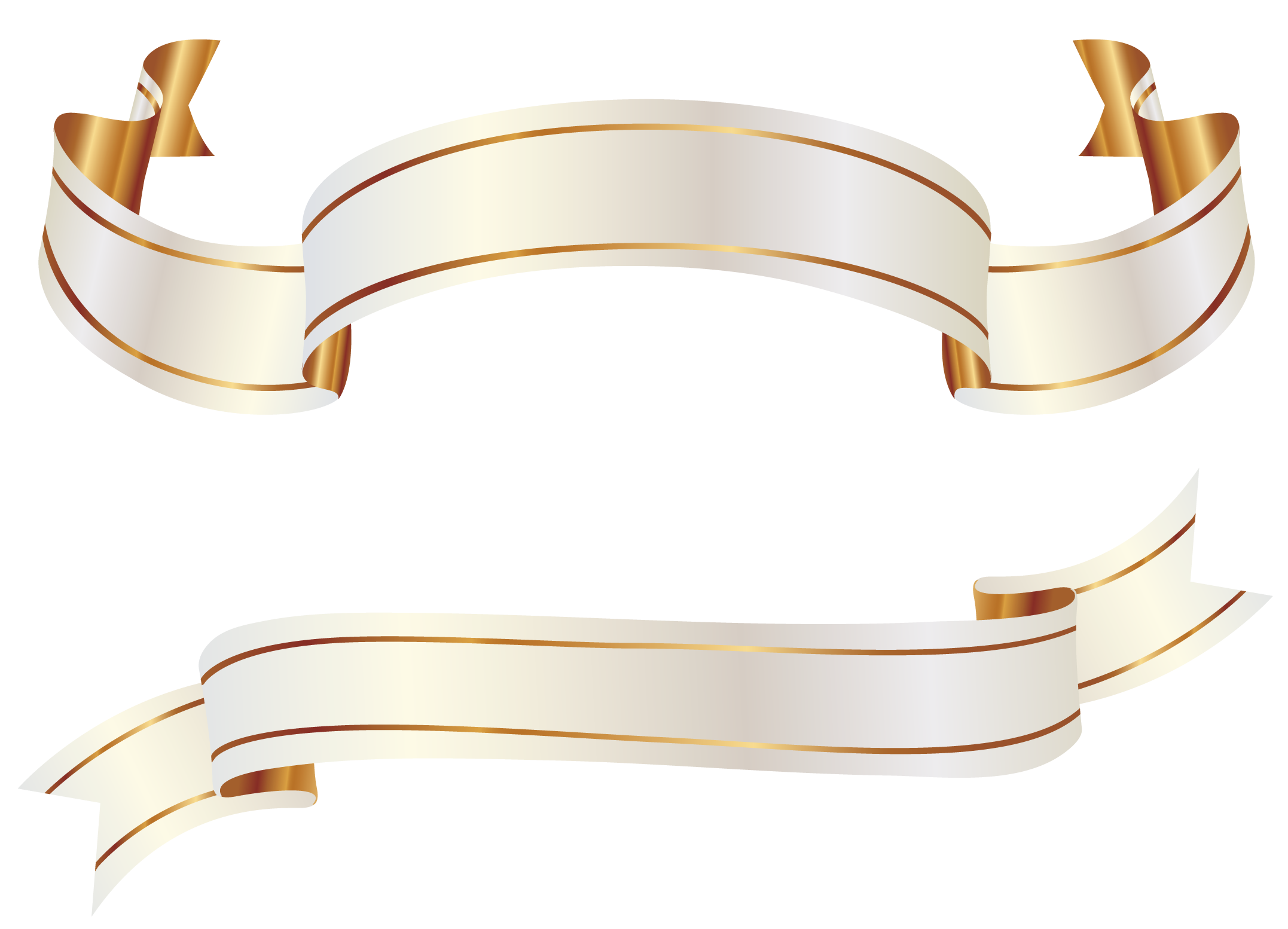 White and Gold Banners PNG Clipart Picture | Faixa banner ...
