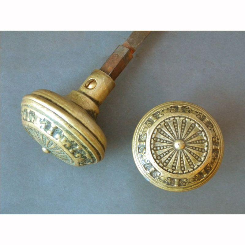 antique single pair of solid brass entry door knobs door hardware