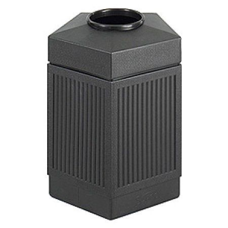 Safco Canmeleon Black Polyethylene Pentagon Indoor/Outdoor Receptacle, 45 gallon