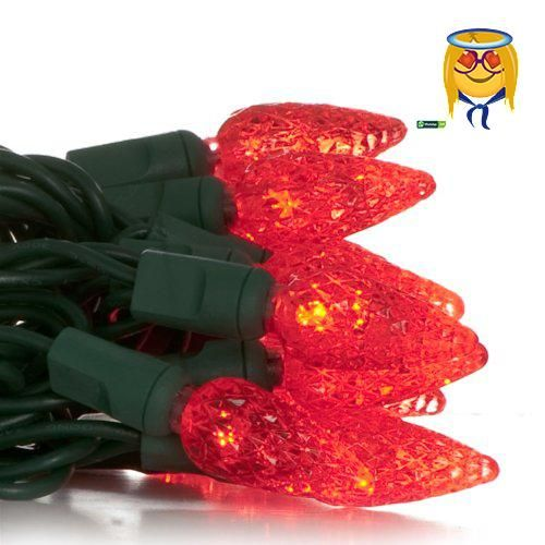 50 C6 Red LED Christmas Light Set; Green Wire Led christmas lights