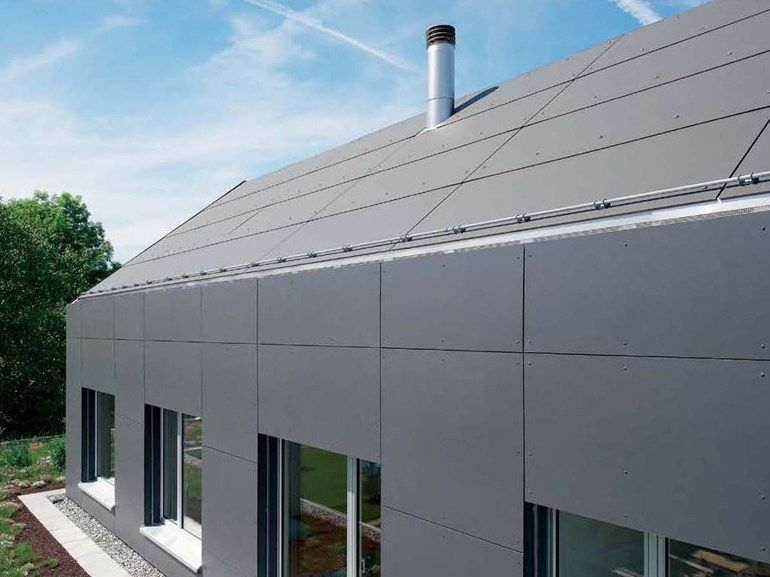 Roofing Panel And Sheet In Fibre Cement Integral Plan By Swisspearl Italia Industrial Roofing Building Cladding House Cladding