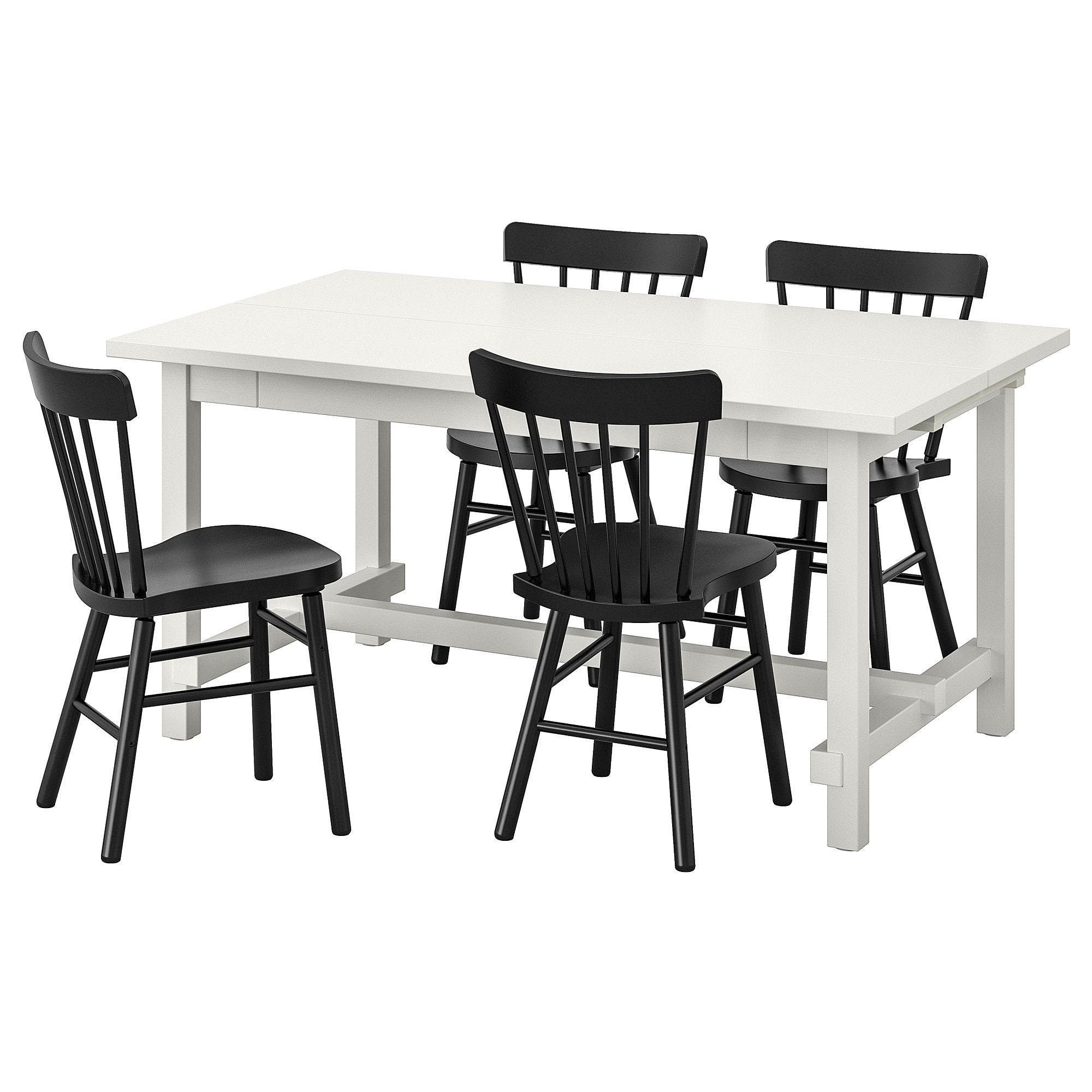 IKEA NORDVIKEN / NORRARYD White, Black Table and 4 chairs