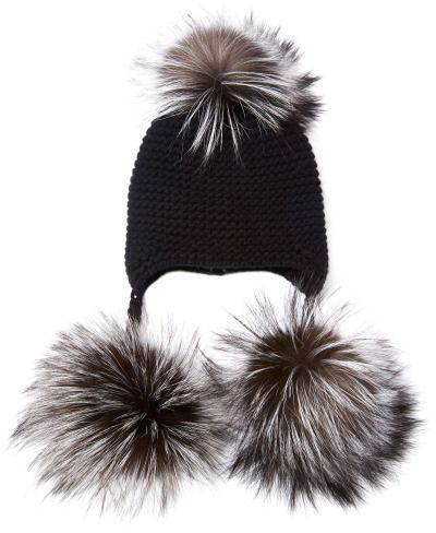 98d24abf5 Inverni Silver Fox Fur-Trimmed Cashmere Beanie Black on shopstyle ...