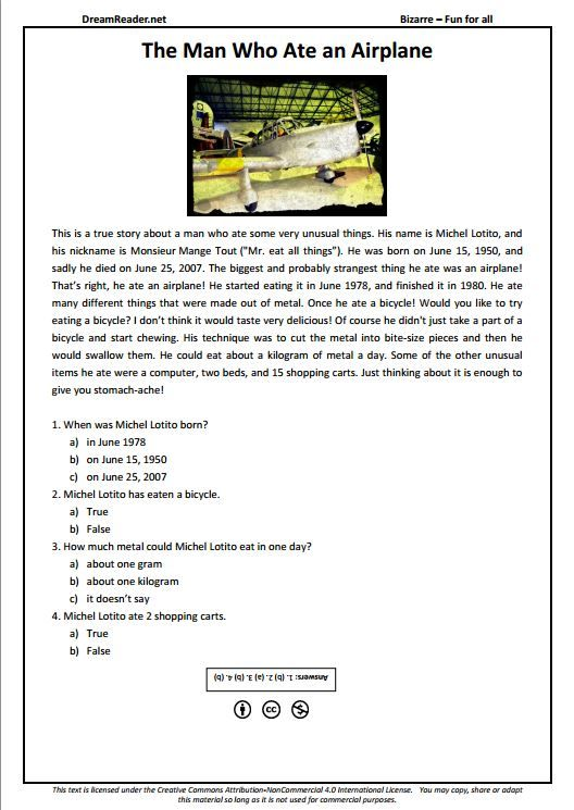 Free Esl Worksheet About A Man Who Ate An Airplane Http