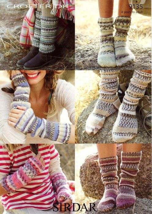 Sock, leg warmers and wrists warmers for beginners - knitted flat ...