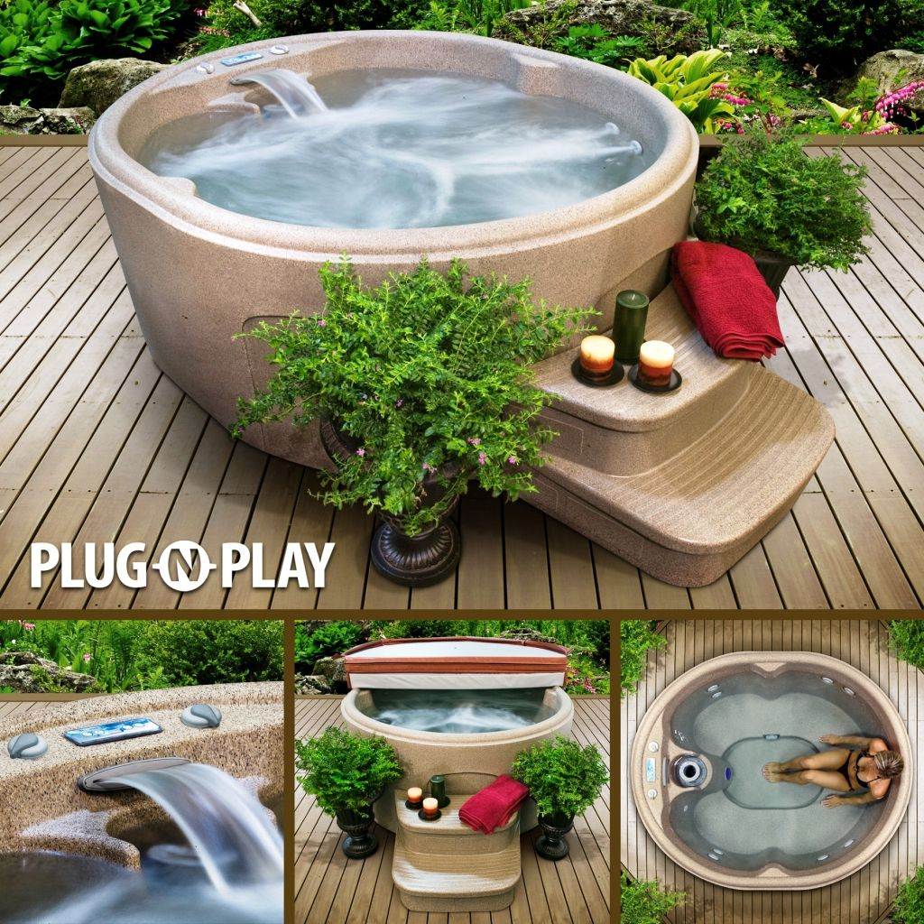 Rock Solid Luna 4 Person 13 Jet Plug And Play Hot Tub Backyard Outdoor Backyard Patio