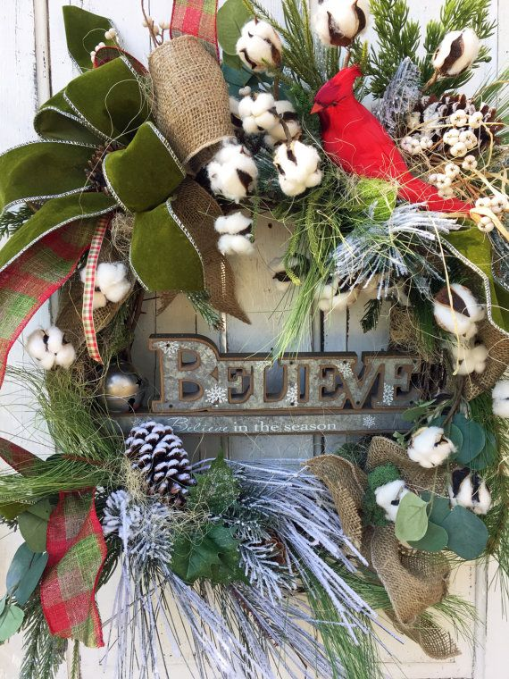Christmas Wreath for Front Door Christmas by FeatheredNestWreaths