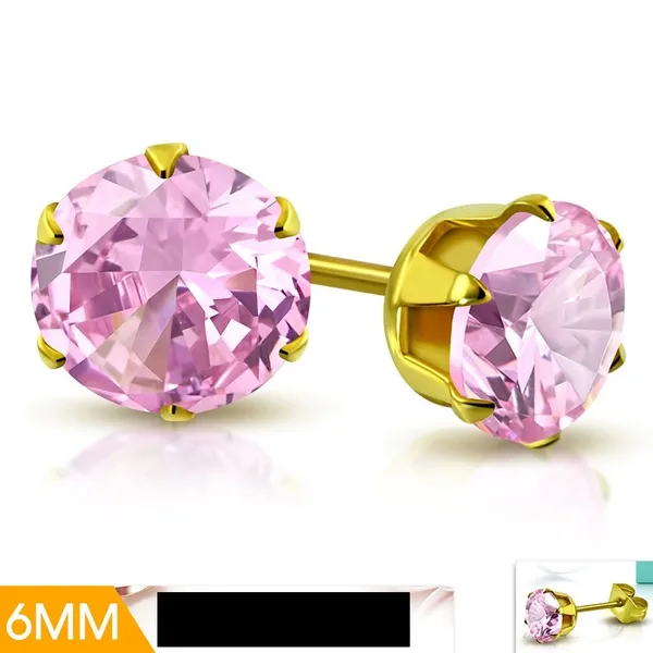 Stainless Steel Gold Color Plated Prong-Set Love Heart Stud Earrings with Clear CZ pair