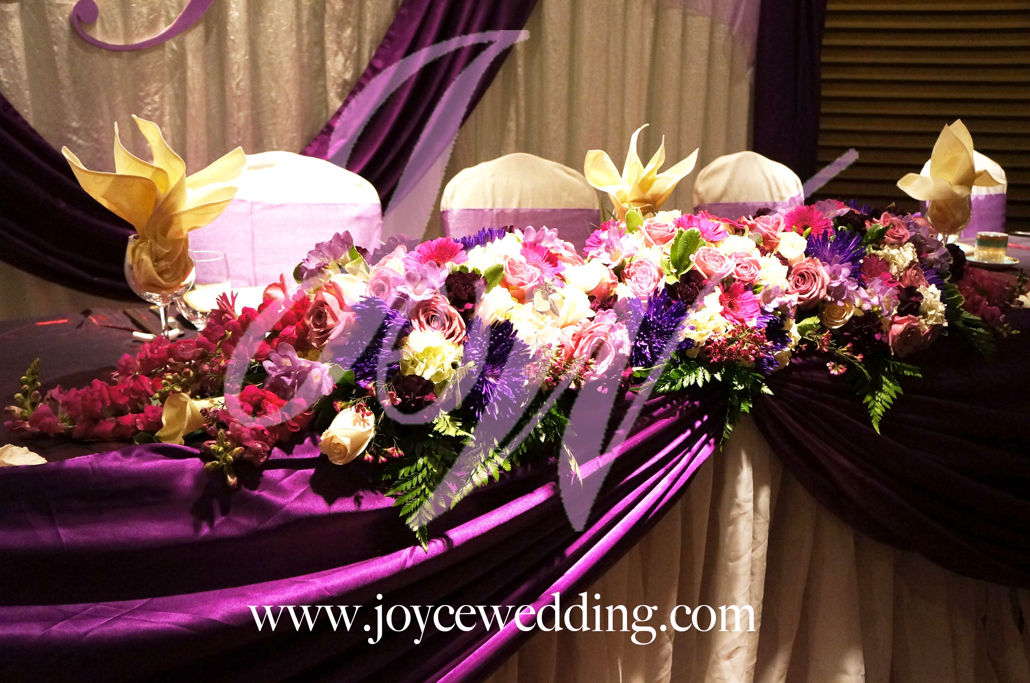 #Reception #Headtable #Floral #Arrangement #Purple And #Pink Hues