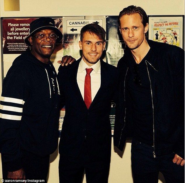 Ramsey joined by Samuel L Jackson and Skarsgard after Arsenal thriller #hollywoodicons