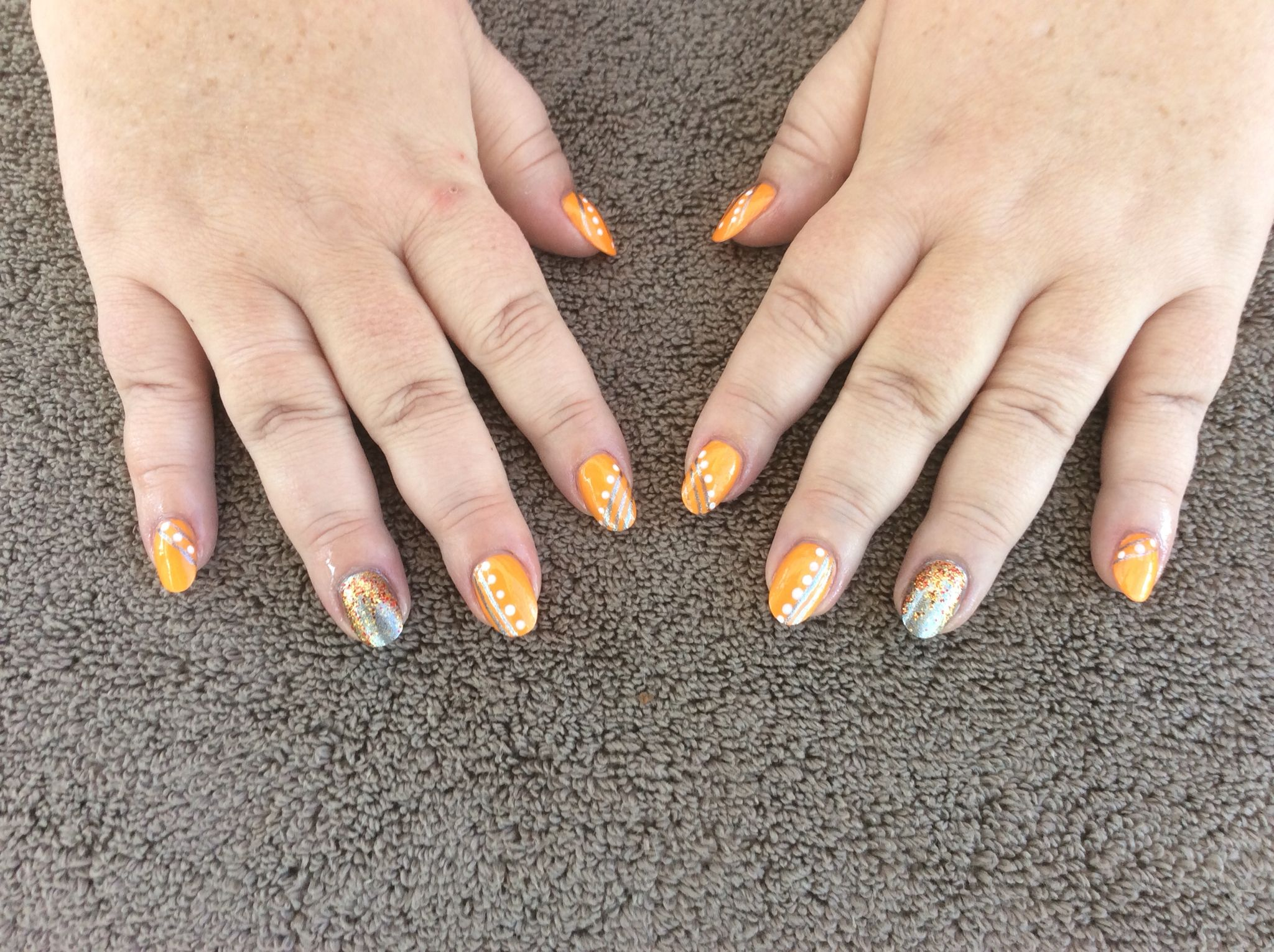 Orange Grey White Nail Art In The Colours Of Burning Nights Crps