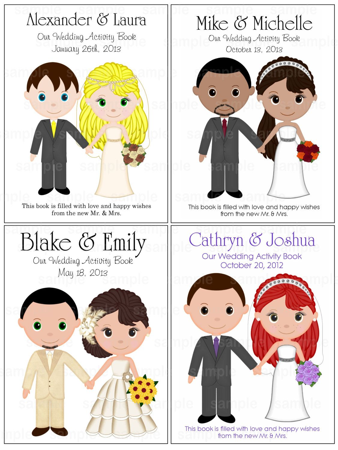 Printable Personalized Custom 85x 55 Wedding Favor Kids Coloring Activity Book PDF Or JPEG TEMPLATE
