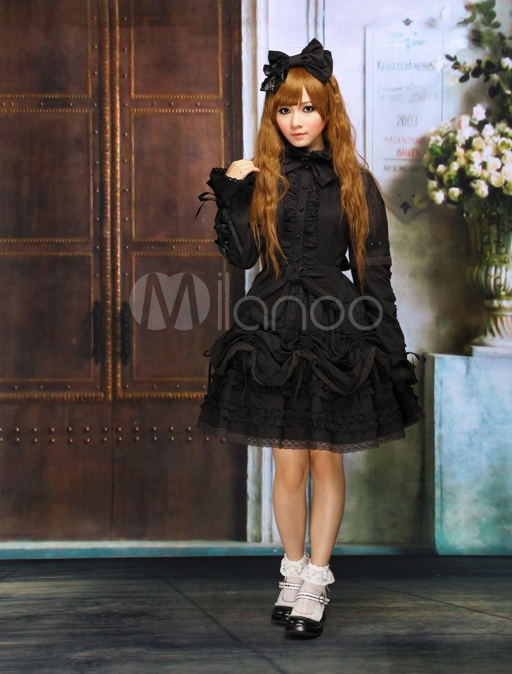 Milanoo ltd lolita onepiece black cotton long sleeves