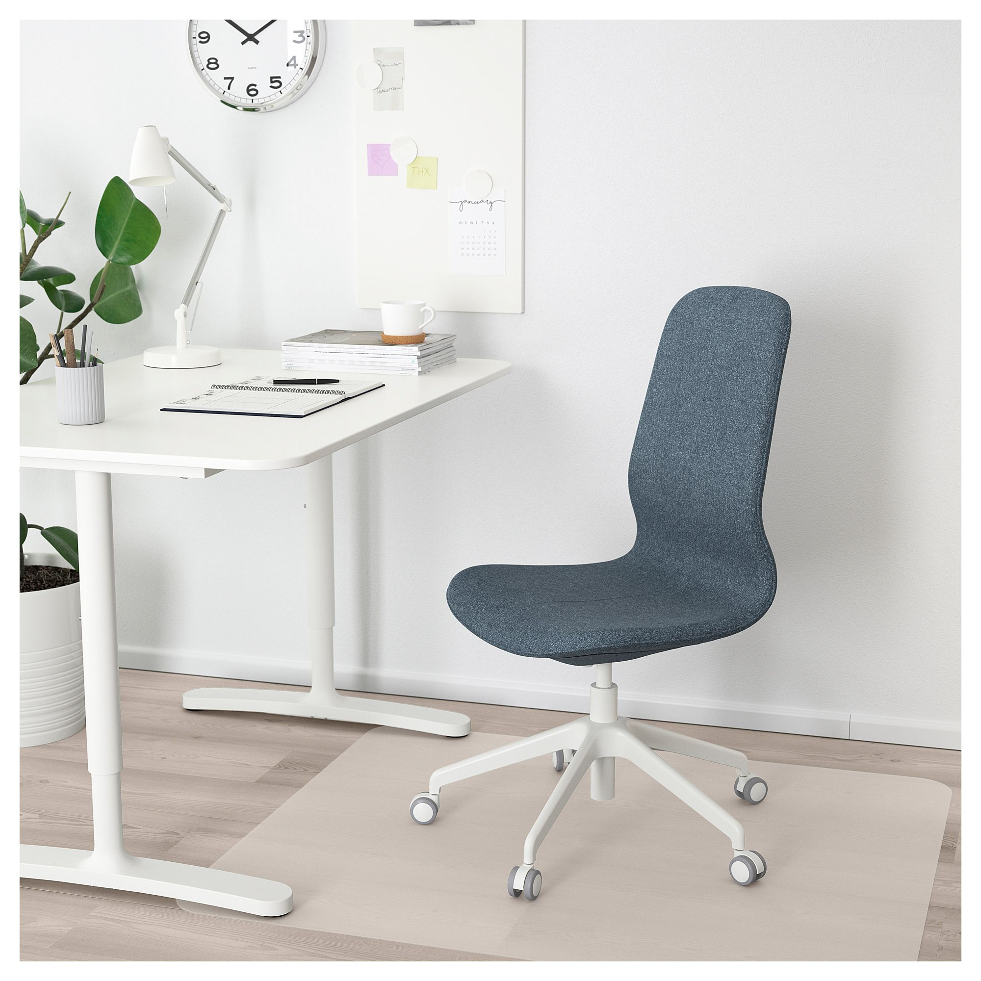 Ikea Langfjall Office Chair Gunnared Blue White Conference