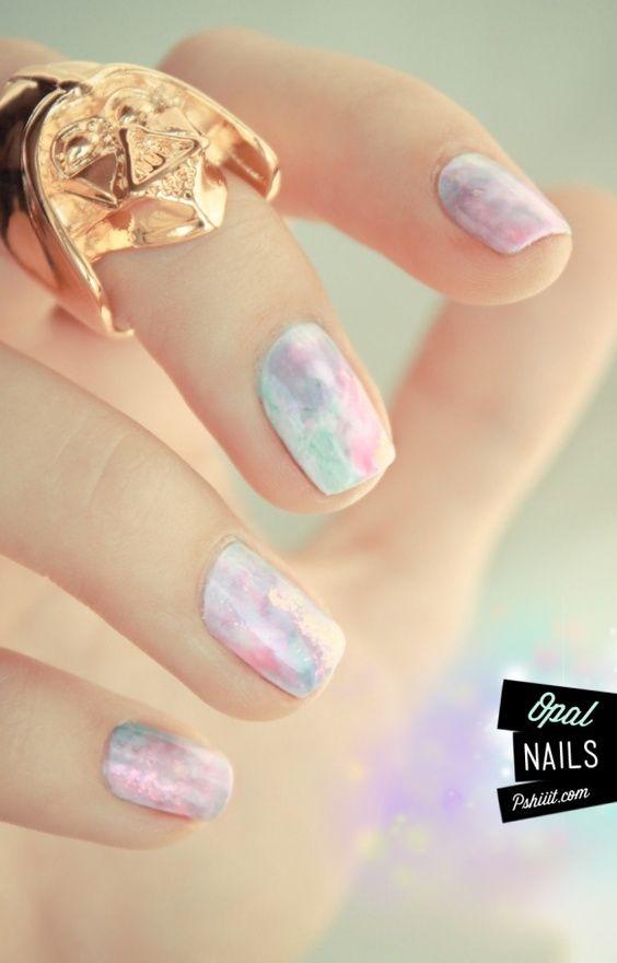 Tuto vidéo nail art // Aquarelle pastel & pierres précieuses ...