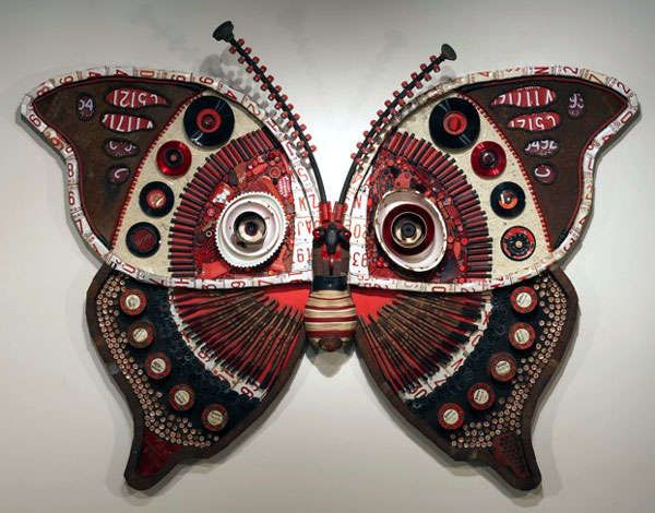 Michelle Stitzlein S Beautiful Butterfly Sculptures Are Made From Recycled Materials Items Such As Car Parts
