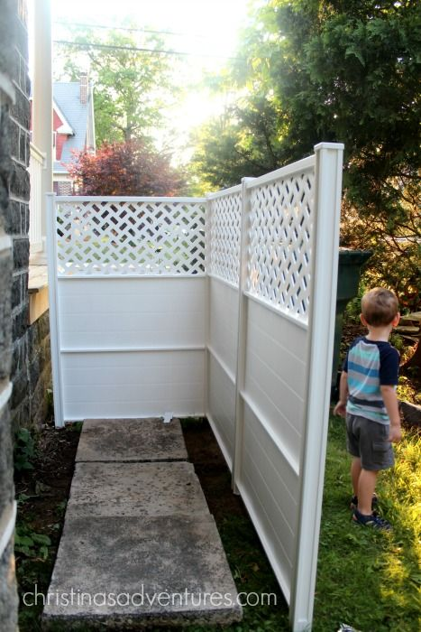 How to hide your trash can 30 minute project 30th for Garden enclosures screens fences