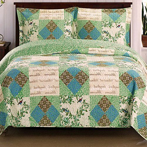 Romantic Chic Patchwork Blue Green Quilt Coverlet Set Oversized ... : lightweight quilts and coverlets - Adamdwight.com