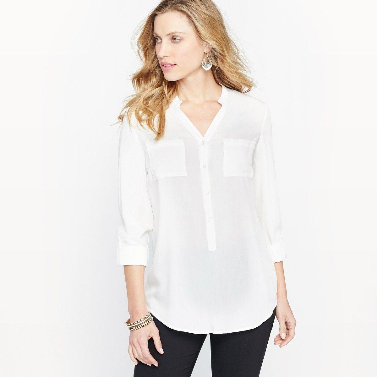 a44bd220e646 Блузка-туника с круглым вырезом | Женская белая рубашка с длинным ...