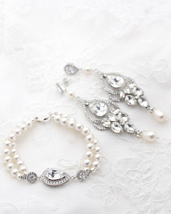 Pearl Bridal Earrings And Bracelet Set Statement Vintage Style Wedding Jewelry