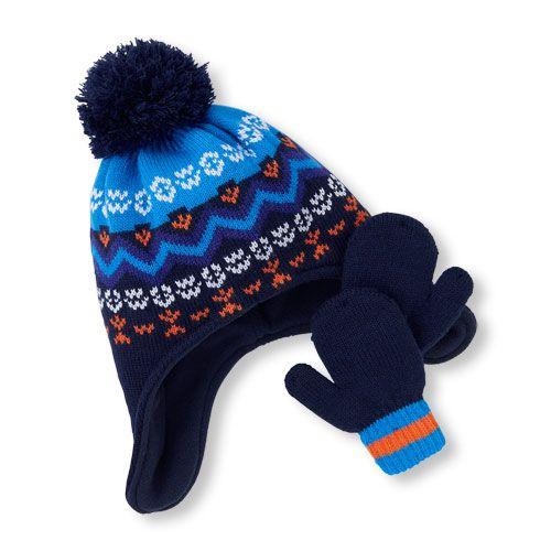 Toddler Boys Fair Isle Pom Pom Hat And Mittens Set | Pom pom hat ...