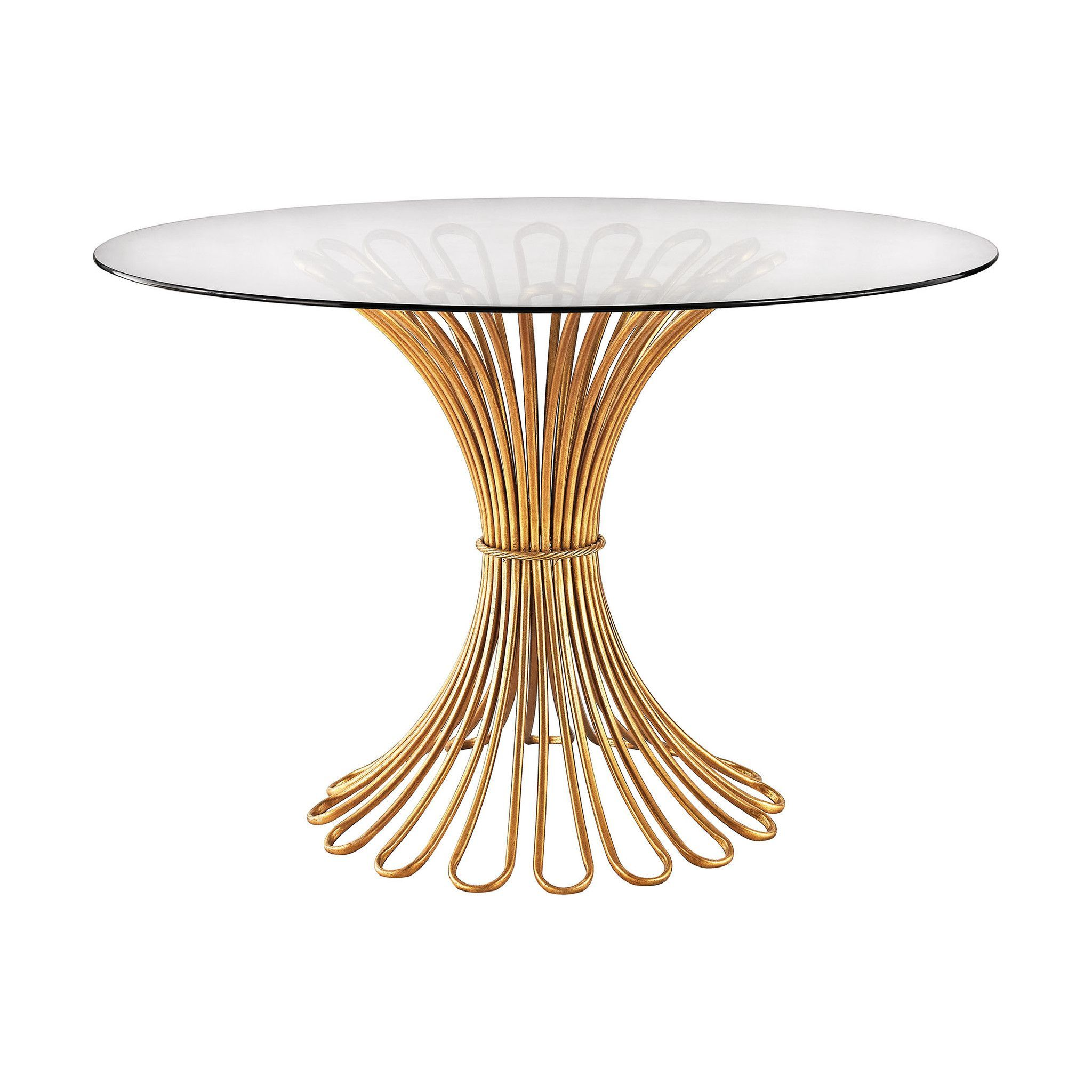 flaired rope entry table in gold leaf and clear glass gold leaf