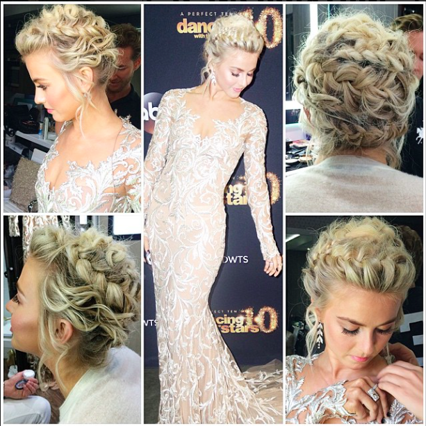 Red Carpet Hairstyle Braided Updo Julianne Hough Celebrity Hairstyle Hair Styles Bride Hairstyles Curly Hair Styles