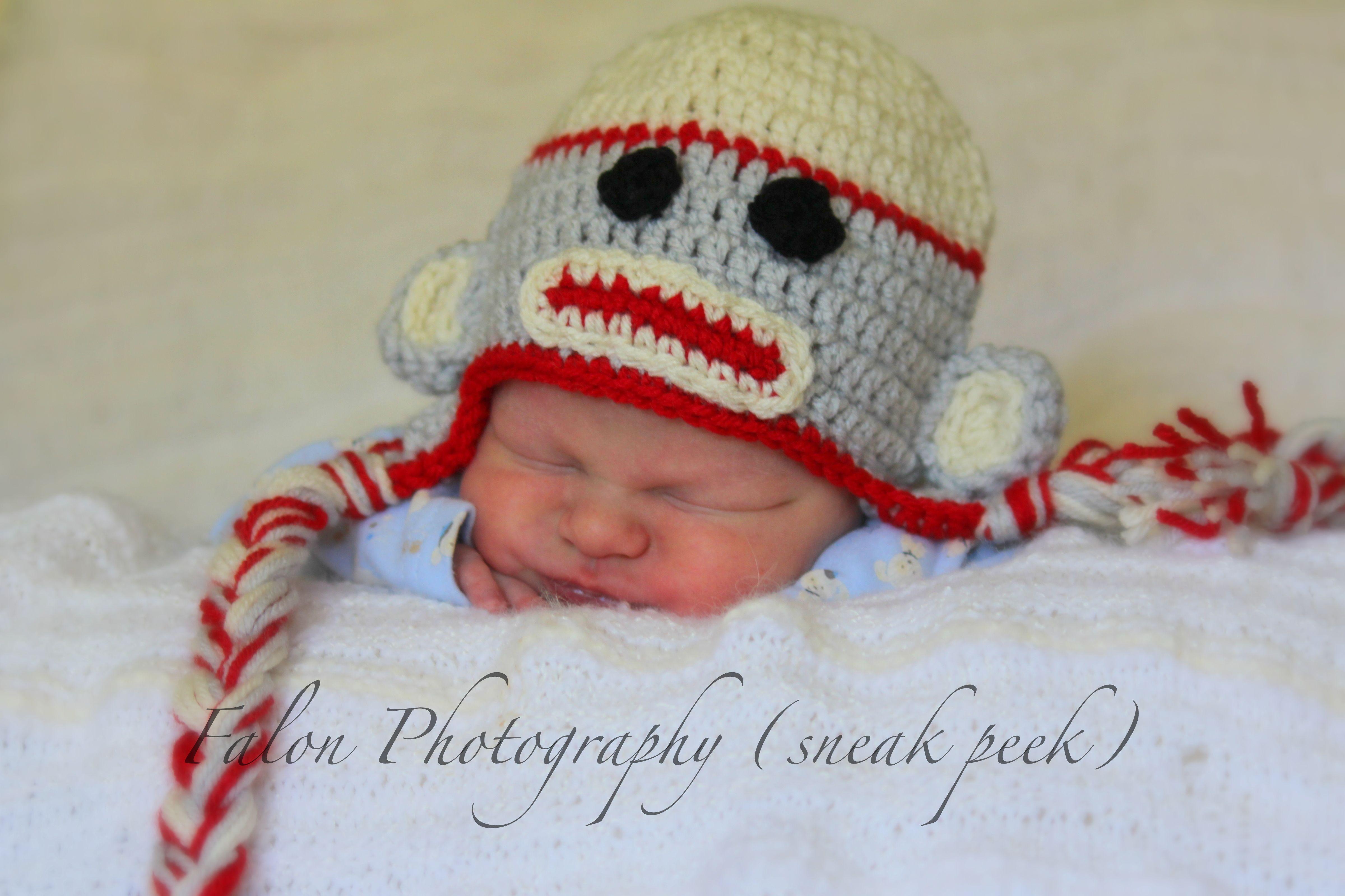 Newborn goodness. baby sock monkey hat