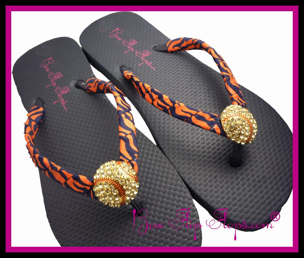 8be0df199698e9 Flip Flops Softball Bling Zebra Rhinestone for Softball Moms