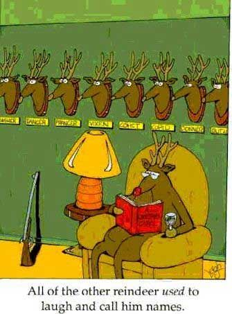 Rudolph The Red Nosed Reindeer Gets His Revenge Funny Christmas Cartoons Christmas Jokes Funny Christmas Pictures