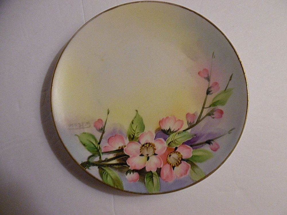 Dinnerware & Nippon Hand Painted Plate w/Gold Trim Pink Flowers Signed W Ross ...
